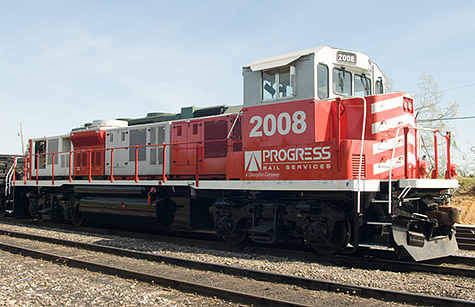 This Progress Rail GenSet engine arrived from Paducah, Ky Saturday moring, April 25, 2009 at West Yards in Madisonville, Ky. Their new state-of-the-art GenSet locomotives are powered by Caterpillar C18 engines in modular power plant packages, offering maximum reliability and availability to keep railroads running. These locomotives are fuel efficient and environmentally friendly. You can find more details on their website at: http://www.progressrail.com Not sure where it was headed from Madisonville. (Photo by Jim Pearson)