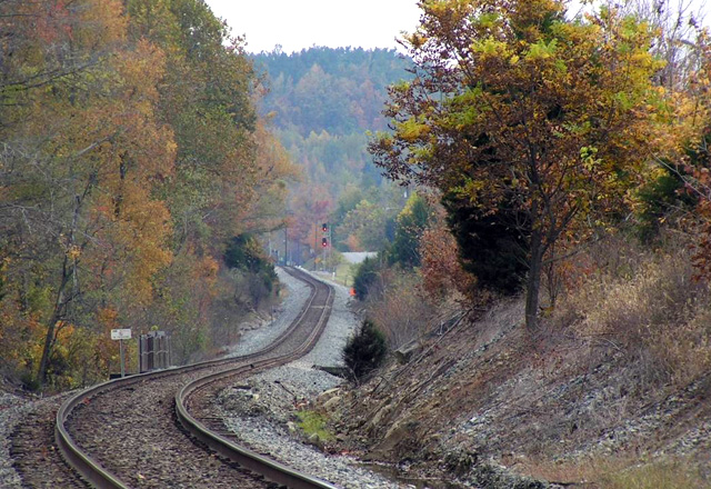 Ricky Bivins made this telephoto lens shot looking south towards Morton's Gap, KY, on the CSX Henderson Subdivision. I always marvel at how the changes in grade and rail irregularities are exaggerated with a long lens. (Photo by Ricky Bivins)
