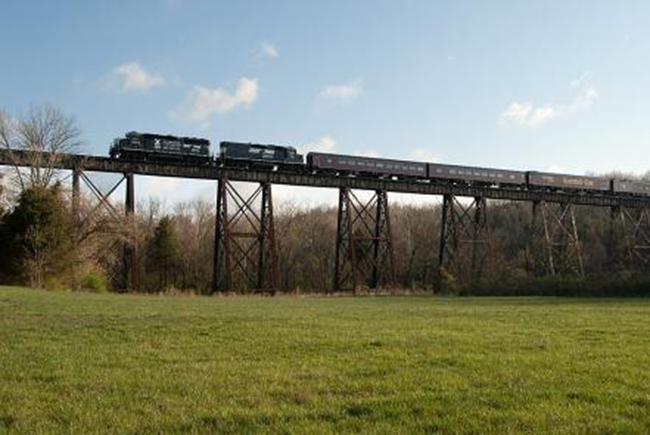 Bill Grady shot this NS Operation Lifesaver train on Pope Lick Trestle, east of Louisville.