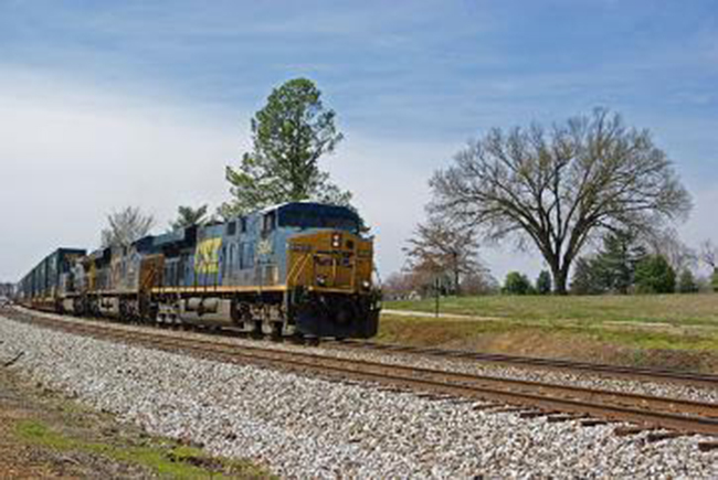 CSX Intermodal, Q124, northbound at S Latham, April 6, 2013.  By Chuck Hinrichs