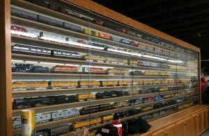 The wall of locomotives on display.