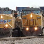 Two northbound UP trains meet at Gorham, IL on February 18, 2014 -Thomas Bryan