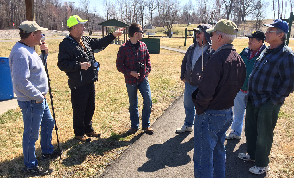 From left to right, Rick Bivins, Donny Knight, Thomas Bryan,Keith Kittenger, Steve Miller, Wally Watts and Rich Hanes enjoy conversation while rail fanning at Sebree Springs Park on March 20, 2014. -Jim Pearson