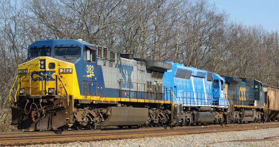 CSX #382 sits at Casky siding waiting for the all clear before heading north on March 30, 2014 with a CEFX lease unit in between the two CSX locomotives. - Chuck Hinrichs