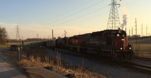 Former SP #9347 waits to follow up NS #8047 to head out of the Yankeetown Docks for more coal on April 5, 2014 - Matt Gentry