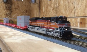 UP 1996 SD70ACe, made by Athearn, pulls an intermodal train on Keith Kittenger's layout on April 10, 2014 -Matt Gentry