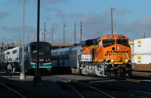 BNSF ES44C4 #8169 pulls into San Bernardino station with its special train in tow on the morning of Saturday, December 13, 2014. - Photos by Matt Gentry