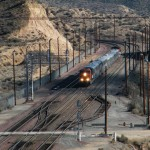 After just changing direction, the BNSF special is starting back towards San Bernardino at Summit in Cajon Pass.