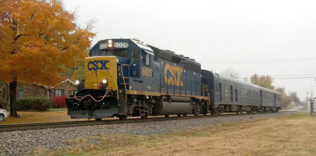 CSX Geometry train lead by locomotive #6025 heads north on the Henderson Subdivision on a dreary Tuesday November 11, 2014. - Rick Bivins