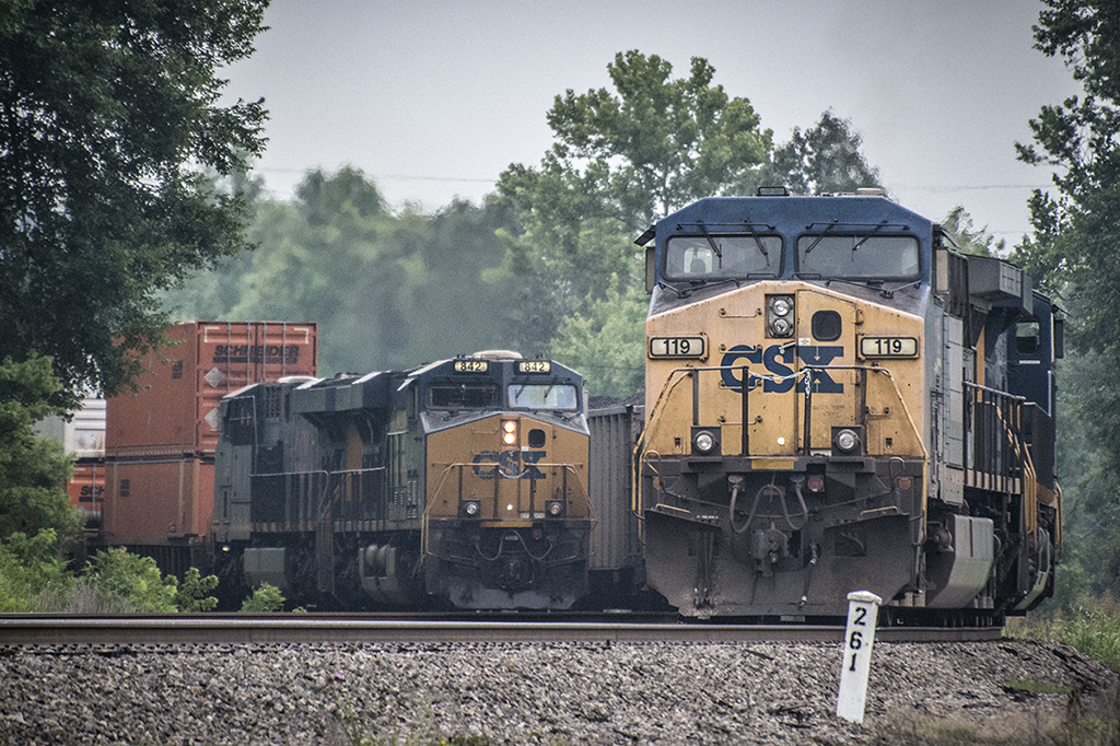 July 1, 2015 - CSX Q029 passes loaded coal train N308 at MP 261 at the south end of Romney siding as they head south on the Henderson Subdivision at Nortonville, Ky. - Tech Info: 1/1600sec, f/4.5, ISO 900, Lens: Nikon 70-300 @ 102 mm with a Nikon D800 shot and processed in RAW. ?#?jimstrainphotos?