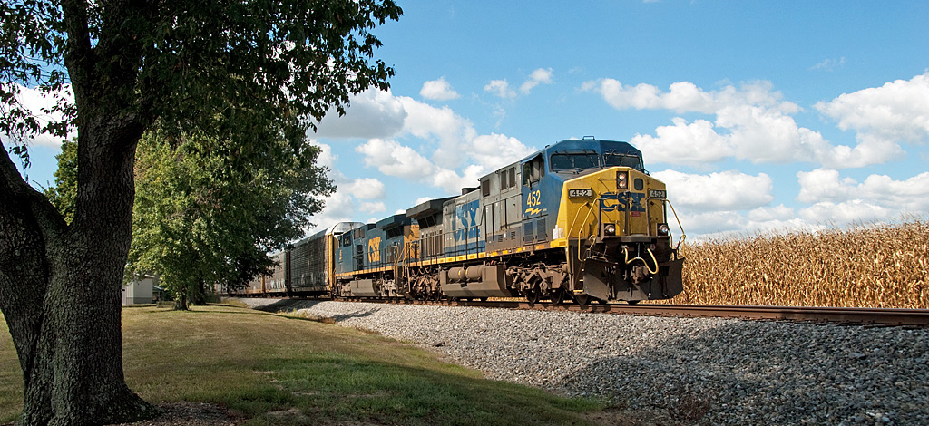CSX AC4400 #452 leads Q247-13 Eastbound just West of Lewisport, KY. Sunday, September 15, was about as good as it gets weather-wise. - Bill Grady