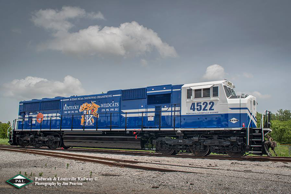 Fresh out of the paint shop at NRE (National Railway Equipment Co.) in Paducah, Ky, Paducah and Louisville's engine 4522 sports a brand new UK paint scheme showing all the years that the University of Kentucky has won a NCAA National Championship. This is one of series of photographs I'll be doing for P&L over the next few months. Thanks to P&L for allowing me to share it with you. – Tech Info: 1/800sec, f/7, ISO 140, Lens: Sigma 24-70 @ 24mm with a Nikon D800 shot and processed in RAW. - Jim Pearson