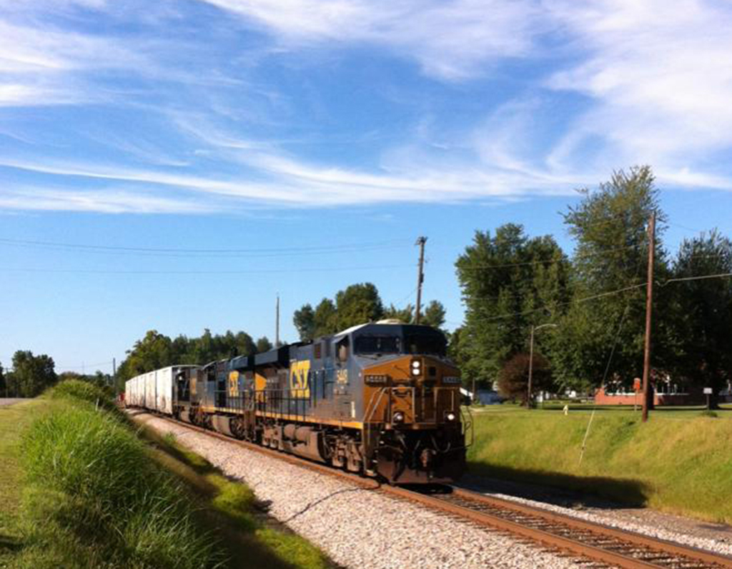 A south bound tote train with reefer cars on the head end hits Morton Junction, Mortons Gap KY at 4:41 PM. (08/24/15) - Rick Bivins