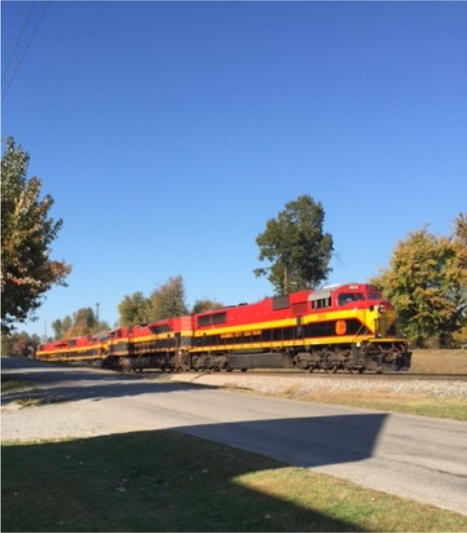 A quartet of KCS units run light (north bound)  through Mortons Gap, KY, October 21, 2015. - Photo by Ricky Bivins