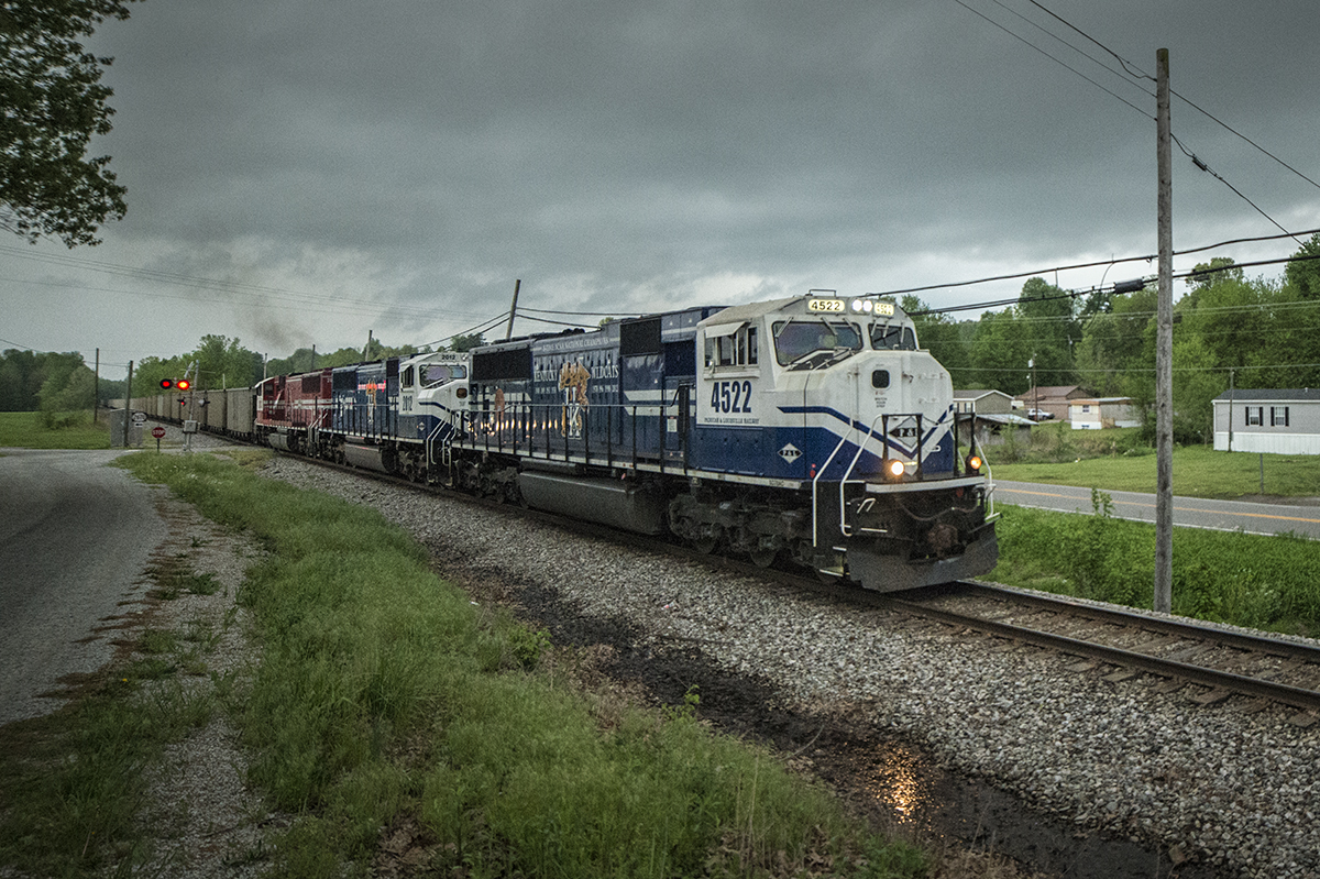 April 27, 2016 - Paducah & Louisville Railway WW1, (Louisville Gas & Electric) chases a heavy storm north with a loaded coal train at McHenry, Ky with PAL UK engines 4522 and 2012 along with UofL 2013 as power. - Tech Info: 1/400 | f/2.8 | ISO 3600 | Lens: Rokinon 14mm on a Nikon D800 shot and processed in RAW. - Photo by Jim Pearson