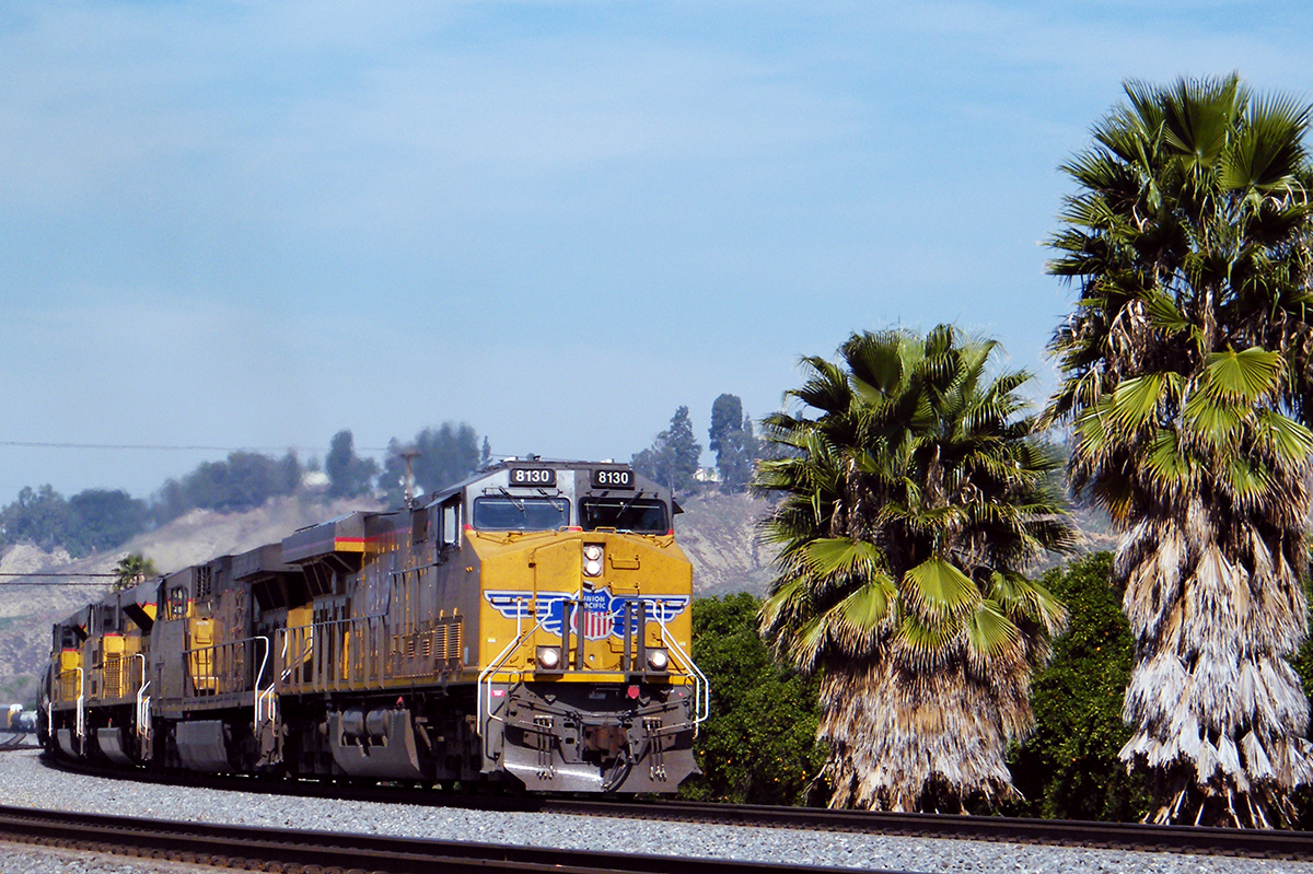 UP 8130 SanTimoteo 2-27-16 - UP ES44AC #8130 leads it general freight east on the former SP Sunset Route through San Timoteo Canyon on its way towards Beaumont, CA and the infamous Beaumont Hill. San Timoteo Canyon has got to be one of my favorite places to watch trains in all of Southern California. 2-27-16.  Photo by Matt Gentry.