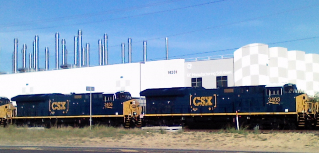 Phil Randall sent this photo in of new CSX ET-44-AH locomotives in front of GE plant near Alliance (Texas) airport.