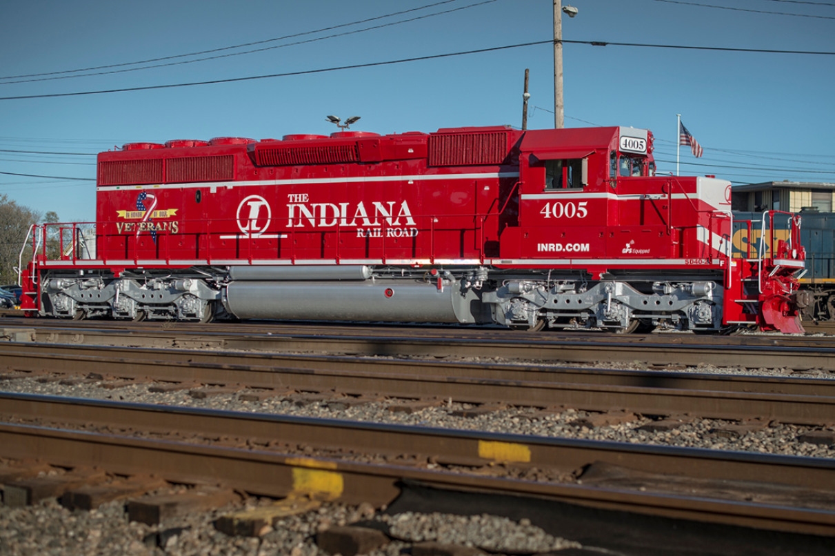"November 12, 2016 - Indiana Railroad's newly painted ""In Honor of Our Veterans"" engine 4005 (SD40-2), sits at the north end of CSX's Howell Yard in Evansville, Indiana. The unit was freshly painted at the National Railway Equipment Co. shops in Mt. Vernon, Illinois and is waiting to move on north along CSX's CE&D Subdivision for delivery to the Indiana Railroad. - Photo by Jim Pearson"