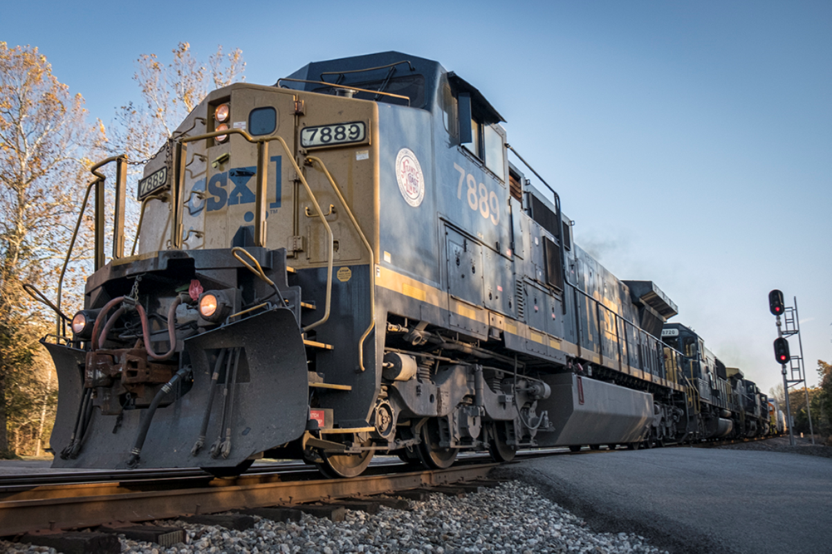 November 16, 2016 - A CSX L688 passes the south end of the siding at Slaughters, Ky with Atlantic Coast Line engine 7889 leading it's 11,500ft train, as it heads north on the Henderson Subdivision. - Photo by Jim Pearson