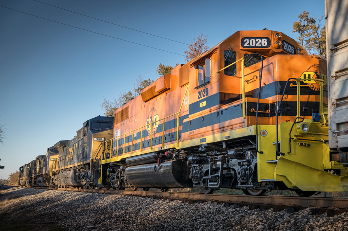 November 16, 2016 - Huron and Eastern Railway 2026 (GP38-3) brings up the rear of the power lash up on CSX L688 as it passes the south end of the siding at Slaughters, Ky with a 11,500ft train, as it heads north on the Henderson Subdivision. Huron and Eastern Railway is a short line railroad operating 384 miles of track in The Thumb and Flint/Tri-Cities area of the lower peninsula of Michigan. - Photo by Jim Pearson